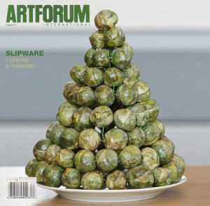 Pastiche of Art forum magazine featuring Slipware's pyramid of sprouts.
