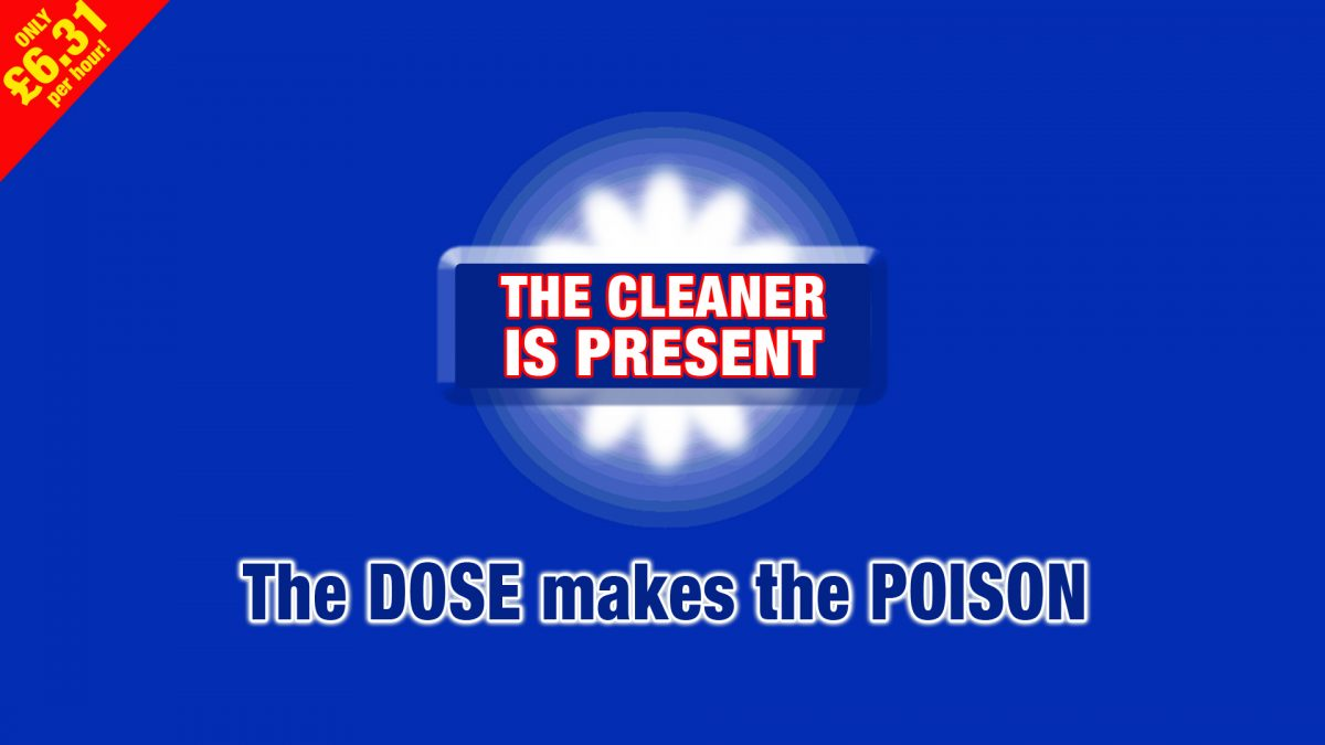 """The Cleaner is Present - the DOSE makes the POISON"" stylised text to look like a cleaning product brand - Title graphic from perfor"