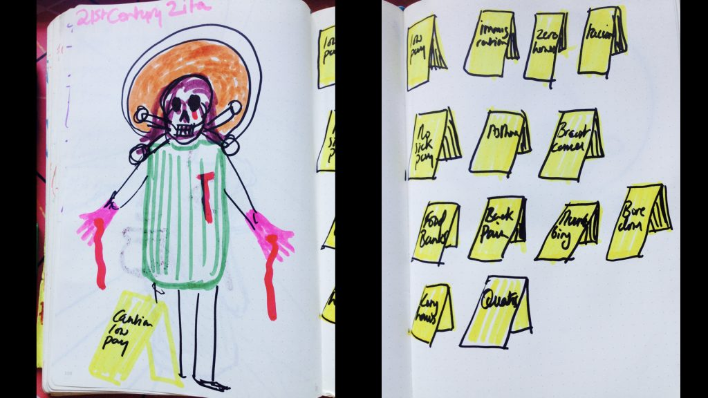 Drawing from sketch book - not very good but shows a skecth of st Zita wearing cleanin g overalls and bleeding from her washing clothes. She has a skull face like a hazard sign. There is a also a sketch of the yellow hazard signs cleaners use. They say things like Low Pay and Breast Cancer