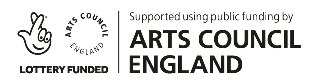 Arts Council England logo.Supported using public funding by Arts Council England.  Lottery Funded.