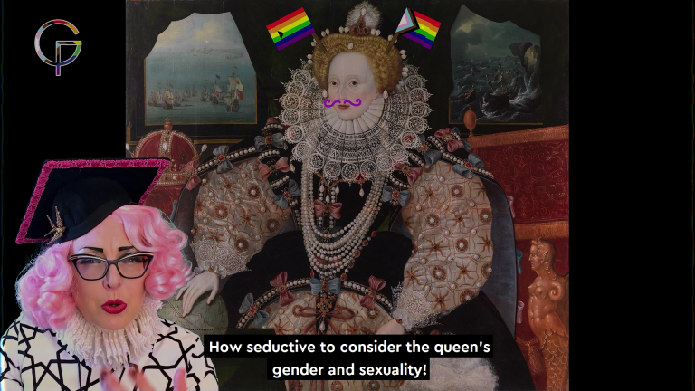 Still featuring Bird in Tudorbethan drag and in the background the Armada portrait of Queen Elizabeth 1st with a moustache and progressive pride flags